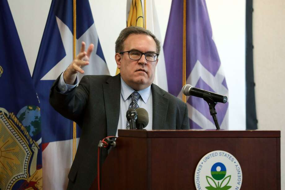 Andrew Wheeler, administrator of the Environmental Protection Agency, speaks during a news conference on the Superfund program in New York in March. A report by an environmental group says new chemicals coming into the marketplace are getting fast tracked for approval by the EPA, despite bipartisan reforms in 2016 designed to increase scrutiny over chemicals and reduce public health risks. Photo: Bess Adler, Bloomberg / Bloomberg / © 2019 Bloomberg Finance LP
