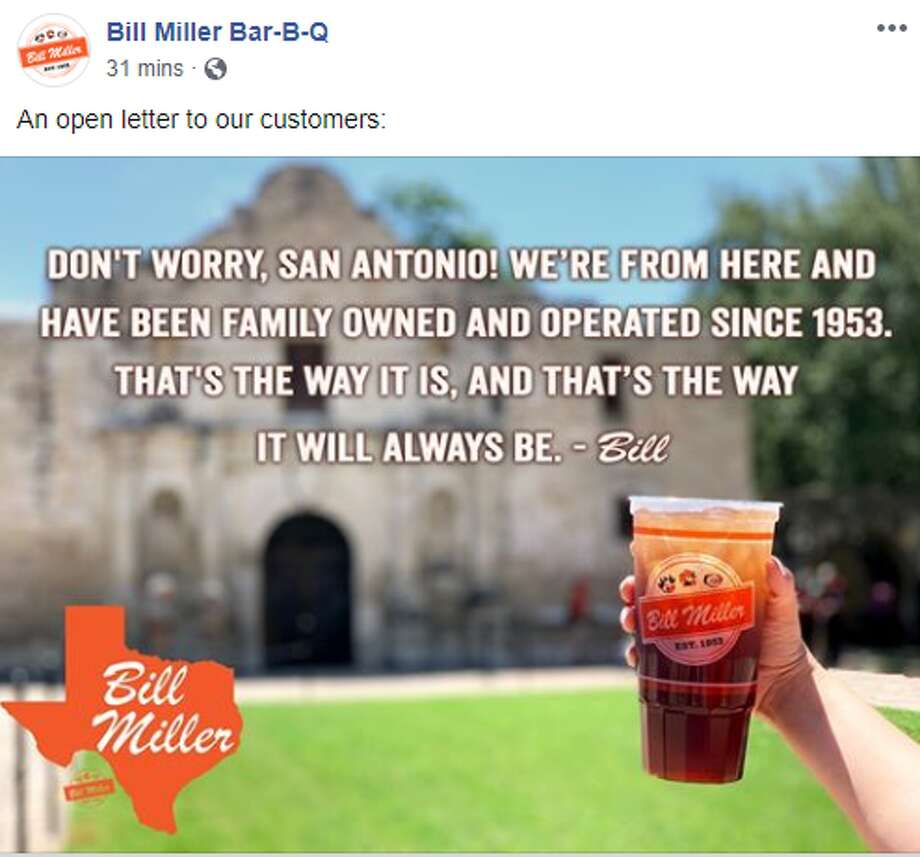 """Don't worry, San Antonio! We're from here and have been family operated since 1953. That's the way it is, and that's the way it will always be,"" the letter, signed ""Bill,"" reads. Photo: Facebook Screengrab"