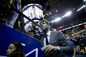Golden State Warriors general manager Bob Myers exits following Game 6 of the NBA Finals at Oracle Arena on Thursday, June 13, 2019, in Oakland, Calif. The Toronto Raptors won the game 114-110 and won the NBA Finals with a 4-2 series.