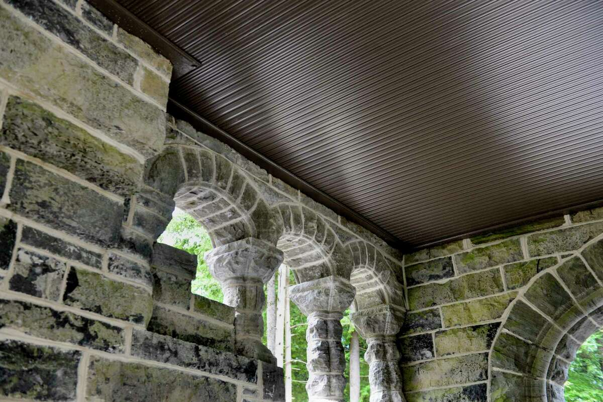 Spencer's Den and the porte cochere on Tuesday, June 18, 2019, at Yaddo in Saratoga Springs, N.Y. The porte cochere had major restorations completed, including steel beams that were inserted to support the upper floors and a new foundation. (Catherine Rafferty/Times Union)