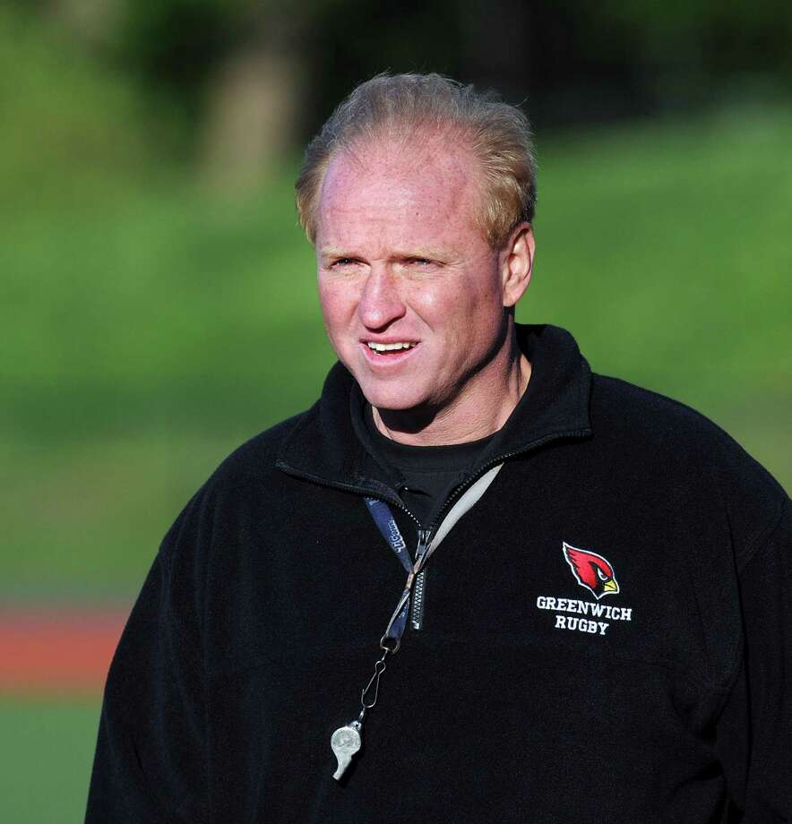 Joe Kelly, Greenwich High School rugby coach, during the match between Greenwich High School and Xavier at Greenwich, Friday night, April 27, 2012. Photo: File / Hearst Connecticut Media / Greenwich Time