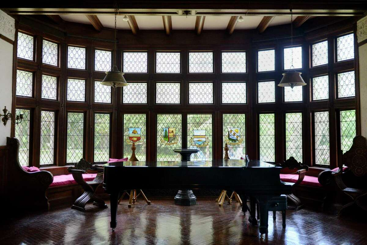 New windows in the music room on Tuesday, June 18, 2019, at Yaddo in Saratoga Springs, N.Y. More than 500 windows were removed for repair, cleaning or replacement as part of the renovations. (Catherine Rafferty/Times Union)