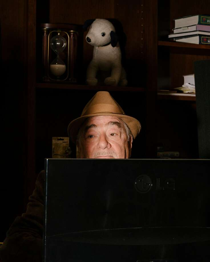 """Michael Savage hosts his conservative talk radio show from his home in Tiburon, Calif., outside San Francisco, May 28, 2019. Savage was one of the first talk radio hosts to endorse Donald Trump. Now he is courting fire with his own listeners by discussing how dismayed he is by the president's unfulfilled promises. """"To too many people he's not a human being, he's a demigod,"""" Savage said. (Jason Henry/The New York Times) Photo: Jason Henry, NYT"""