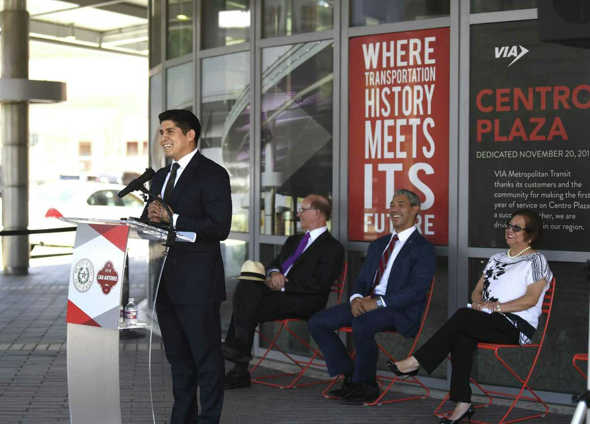 Rey Saldaña, left, endorsed for VIA Metropolitan Transit board chair by County Judge Nelson Wolff, second from left, and Mayor Ron Nirenberg, middle, speaks during a press conference at Centro Plaza at VIA Villa on Tuesday, June 18, 2019. Outgoing VIA board chair Hope Andrade sits at right.