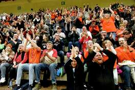 Fans cheer as Cambridge plays Watkins Glen in the New York State Public High School Athletic Association girls' Class C championship basketball game Saturday, March 16, 2019, in Troy, N.Y. Cambridge won 57-43. (Hans Pennink / Special to the Times Union)
