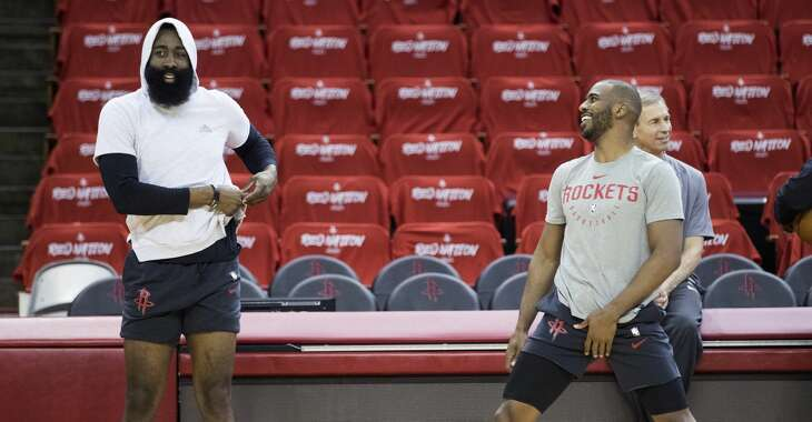 Houston Rockets guards James Harden, left, and Chris Paul stretch during Rockets practice at Toyota Center on Friday, May 3, 2019, in Houston. The Rockets, down 0-2 in the NBA Western Conference semifinals, play the Golden State Warriors in Game 3 on Saturday.