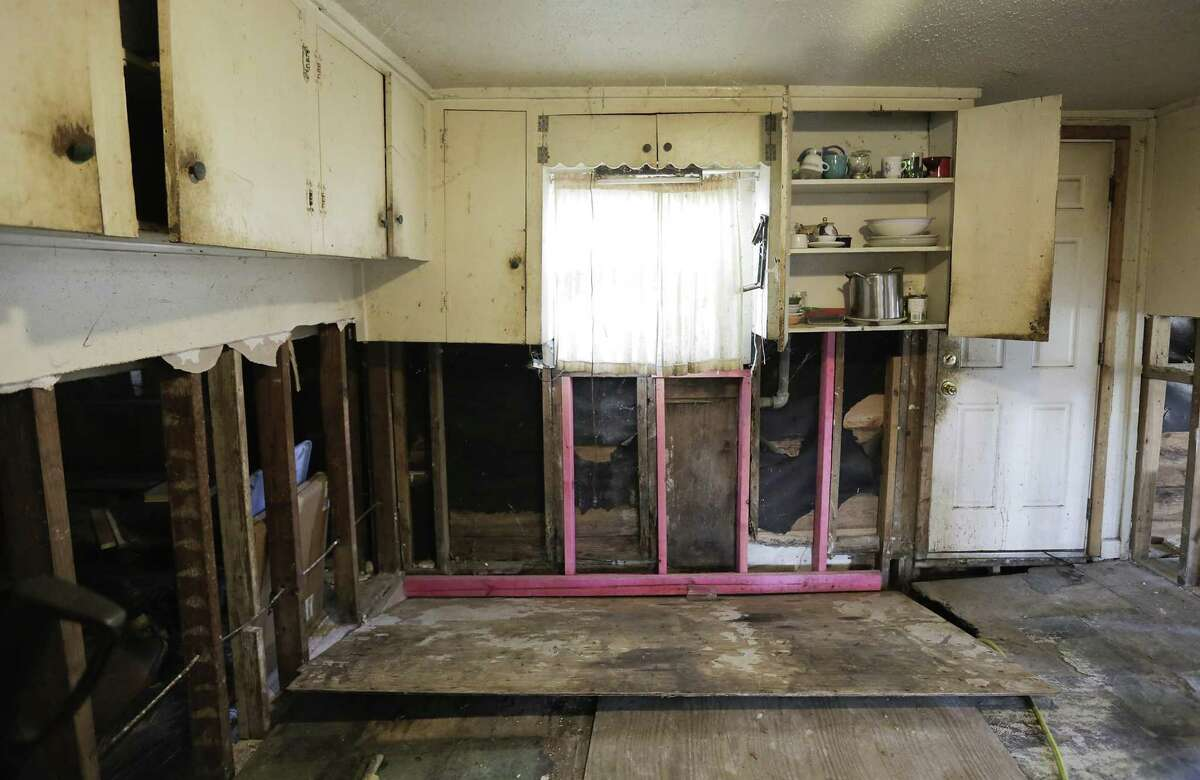 The gutted kitchen of Joe Fowler's home in the Kashmere Gardens neighborhood, almost two years after it flooded from Harvey on Tuesday, June 18, 2019 in Houston.
