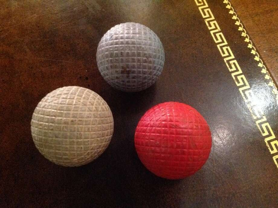 SYNTHETIC MATERIAL MESH BALLS, CA. 1898. Maronite balls marked a new era in golf ball construction, with lively play and great durability. (oldgolfshop.com)