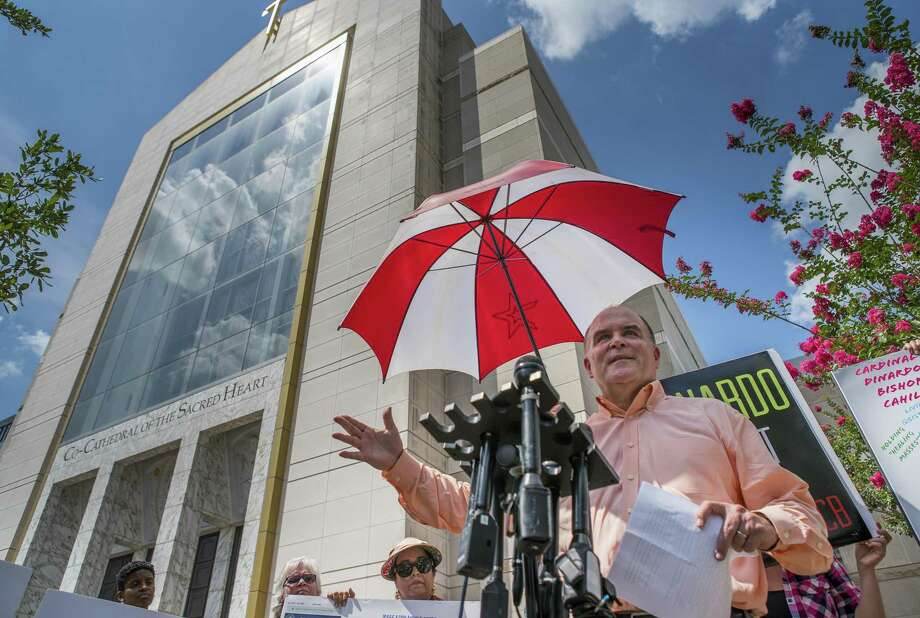 Michael Norris, who leads Houston's chapter of SNAP, the survivors network of those abused by priests, speaks during a press conference demanding that Cardinal DiNardo resign, in front of the Co-Cathedral of the Sacred Heart in downtown Houston on Monday, June 10, 2019. Photo: Mark Mulligan, Houston Chronicle / Staff Photographer / © 2019 Mark Mulligan / Houston Chronicle