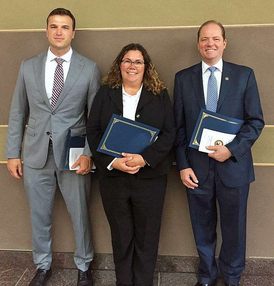 From left to right: Special Agent Thomas Lipp, Detetective Elizabeth DiIorio and Senior Special Agent Michael Sweeney. Photo: Contributed Photo / Darien Police Department