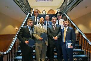 Greenwich, Conn., police officers who received recognition for their work during an awards ceremony on June 14, 2019. In the photo are six of the eight recognized: Sgt. Thomas Kelly, Sgt. Kristopher Shockley, Detective Anthony Fiscella, Detective James Manning, Detective Kyle O'Neill and Detective Brian Perusse were recognized for their work in United States v. David Byers.