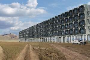 A rendering of the fans used to suck in air and carbon dioxide for one of Carbon Engineering's commercial direct air capture plants.