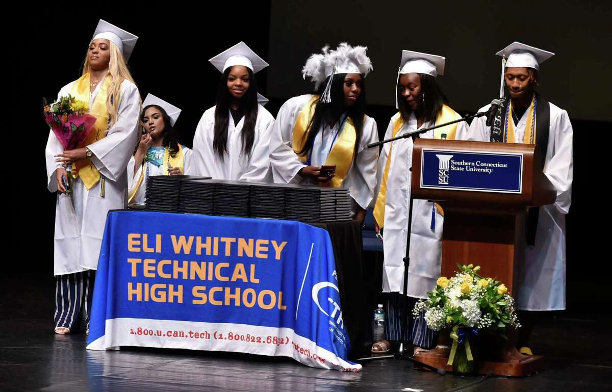 New Haven, Connecticut - Tuesday, June 18, 2019: Eli Whitney Technical Vocational High School graduation Tuesday evening at the Lyman Center of Performing Arts on the campus of Southern Connecticut State University.