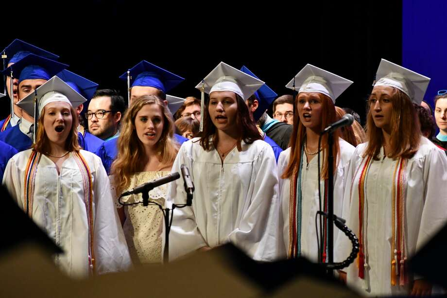 Darien High School seniors graduated on June 18, 2019 in a commencement ceremony held in the DHS auditorium. Photo: Vic Eng / Hearst Connecticut Media Group