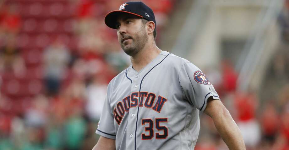 Houston Astros starting pitcher Justin Verlander reacts after giving up a two-run home run to Cincinnati Reds' Derek Dietrich during the first inning of a baseball game Tuesday, June 18, 2019, in Cincinnati. (AP Photo/John Minchillo) Photo: John Minchillo/Associated Press