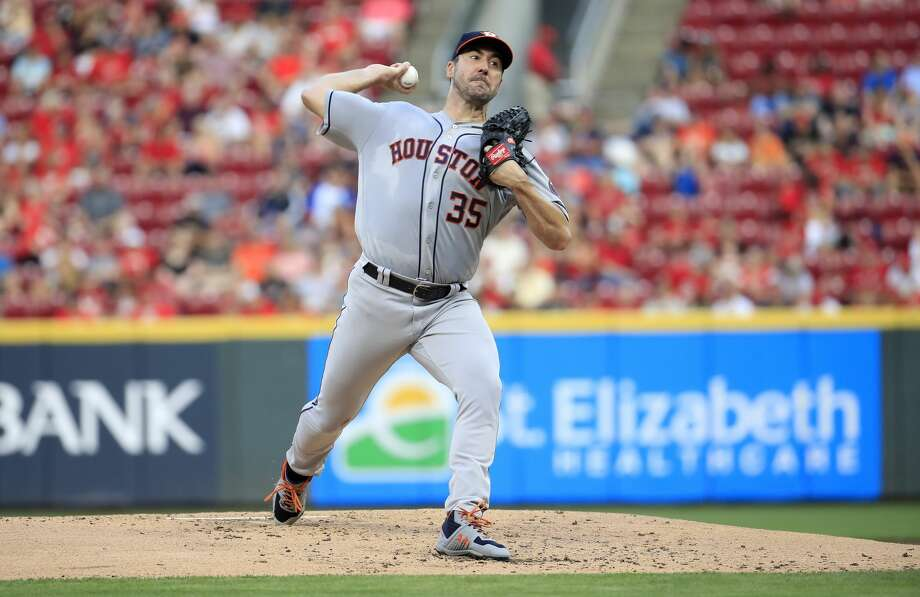 CINCINNATI, OHIO - JUNE 18:   Justin Verlander #35 of the Houston Astros throws a pitch against the Cincinnati Reds at Great American Ball Park on June 18, 2019 in Cincinnati, Ohio. (Photo by Andy Lyons/Getty Images) Photo: Andy Lyons/Getty Images