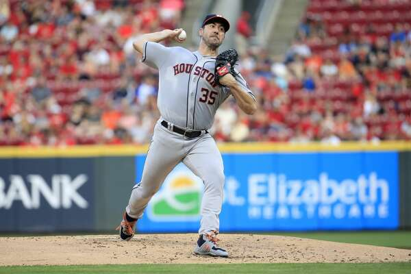 CINCINNATI, OHIO - JUNE 18: Justin Verlander #35 of the Houston Astros throws a pitch against the Cincinnati Reds at Great American Ball Park on June 18, 2019 in Cincinnati, Ohio. (Photo by Andy Lyons/Getty Images)