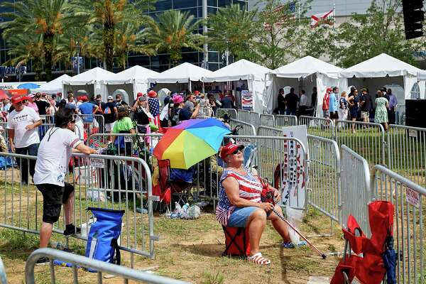 "Supporters of President Donald Trump gather Tuesday for ""45 Fest,"" a festival organized to celebrate Trump's official 2020 campaign announcement in Orlando, Fla."