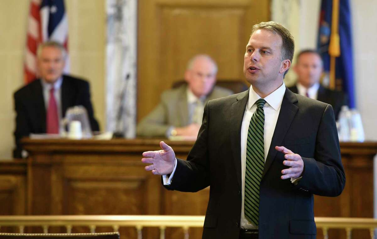 Attorney Justin Corcoran pleads his case to become a Supreme Court judge in courtroom 373 at the Albany County Courthouse during the Democratic Party nominating committee convention for Supreme Court Judge Friday afternoon Sept. 19, 2014, in Albany, N.Y. (Skip Dickstein/Times Union)