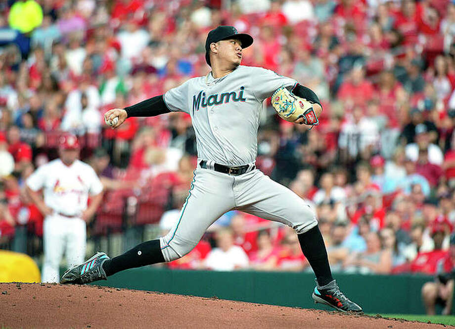 Marlins pitcher Jordan Yamamoto delivers a pitch in the first inning of Tuesday night's game against the Cardinals at Busch Stadium. Photo: AP Photo