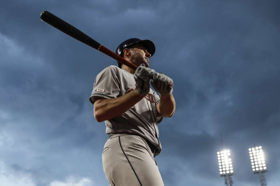 Houston Astros' Justin Verlander steps up to bat during the sixth inning of the team's baseball game against the Cincinnati Reds, Tuesday, June 18, 2019, in Cincinnati. (AP Photo/John Minchillo)