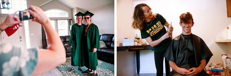 Left: Paradise High School seniors Lance Lighthall and good friend Mason Davis take a photo together before heading to Paradise for their graduation ceremony in Chico. Right: Lance and his mom, Rachel Lighthall, enjoy a good laugh as she cuts his hair just hours before he graduates. Photo: Gabrielle Lurie / The Chronicle