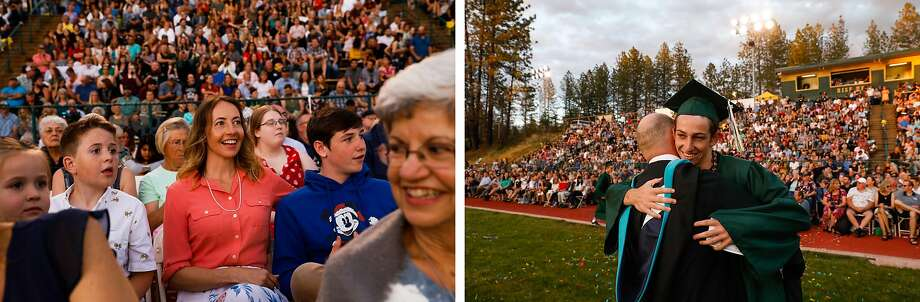 Left: Rachel Lighthall watches as son Lance (not pictured) and husband Loren (not pictured) participate in the Paradise High School graduation ceremony seven months after teh Camp Fire detroyed the town. Right: Paradise High School senior Lance Lighthall and his father, Principal Loren Lighthall, embrace during the ceremony. Photo: Gabrielle Lurie / The Chronicle