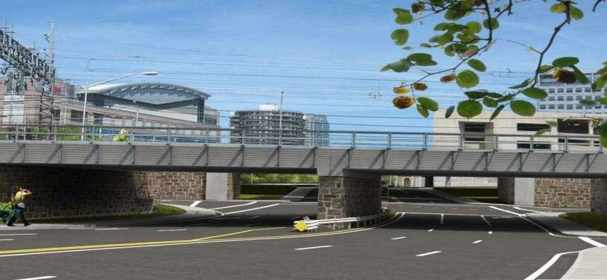 A rendering shows the replaced Atlantic Street Bridge in downtown Stamford.