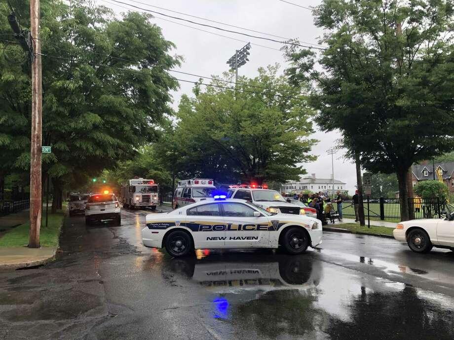 Crash scene in New Haven Photo: William Lambert / Hearst Connecticut Media