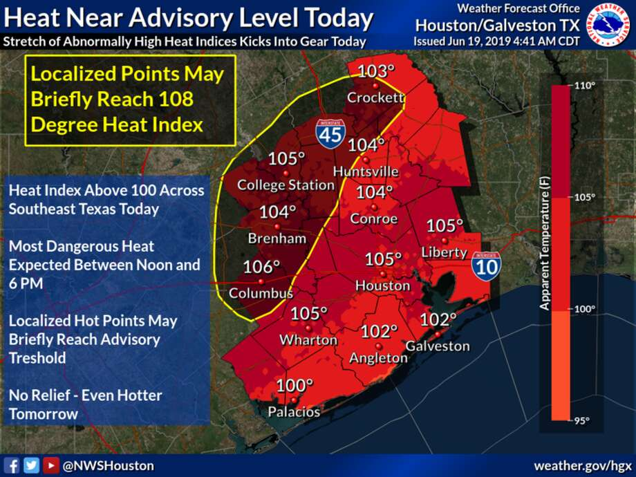 """The projected high temperature on Wednesday, June 19, 2019, is only 95 degrees, but sunlight and a lack of cloud coverage means heat indices (or """"feels like"""" temperatures) will reach up to 105 degrees in Greater Houston. >> Click through the following gallery to see how Houstonians have beaten the heat over the years. Photo: National Weather Service"""