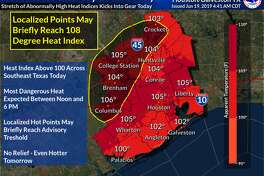 "The projected high temperature on Wednesday, June 19, 2019, is only 95 degrees, but sunlight and a lack of cloud coverage means heat indices (or ""feels like"" temperatures) will reach up to 105 degrees in Greater Houston."