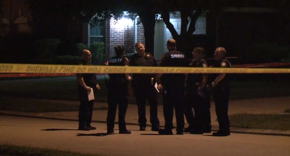 Harris County Sheriff's Office deputies respond to a shooting Wednesday morning in which a homeowner shot a