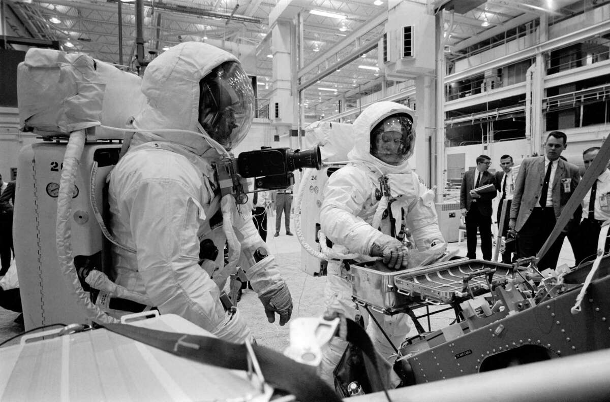 Astronauts Neil Armstrong and Buzz Aldrin train for the Apollo 11 trip to the moon on April 15, 1969.
