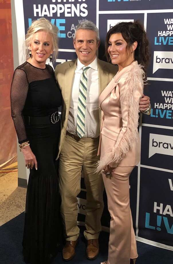 Texicanas Luz Ortiz and Blanca Montagne with Watch What Happens Live host Andy Cohen. Photo: Jorge & Caleb Campos
