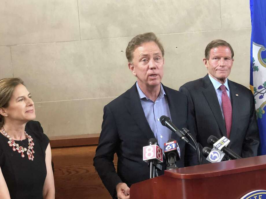 Gov. Ned Lamont speaks about the first year of the Hartford Line train service between New Haven and Springfield, Mass., on Monday, June 17, 2019, at Union Station in New Haven. Photo: Ed Stannard / Hearst Connecticut Media