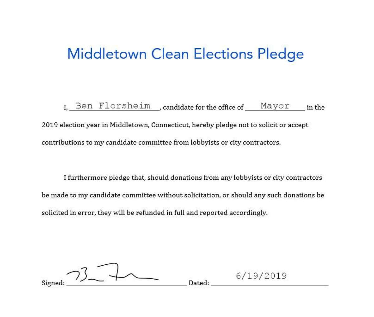 Democratic candidate for Middletown mayor Ben Florsheim signed a pledge this week refusing to take campaign contributions from lobbyists and city contractors.