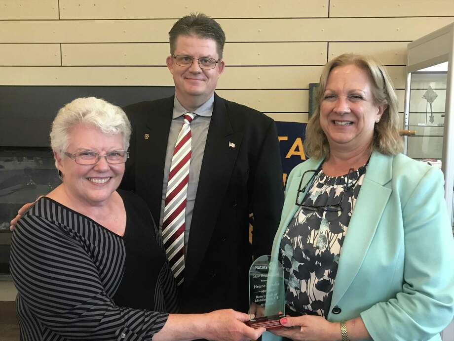 The Middletown Rotary Club recently recognized members for their superior service to the community. From left are Rotarian Patti Vassia, President Eric Rodko and Mort Briggs Award Recipient Helene Vartelas. Photo: Contributed Photo