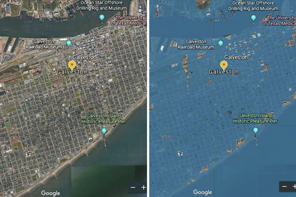 This composite before-and-after photo shows what Galveston could look like by 2100, according to Google Earth.