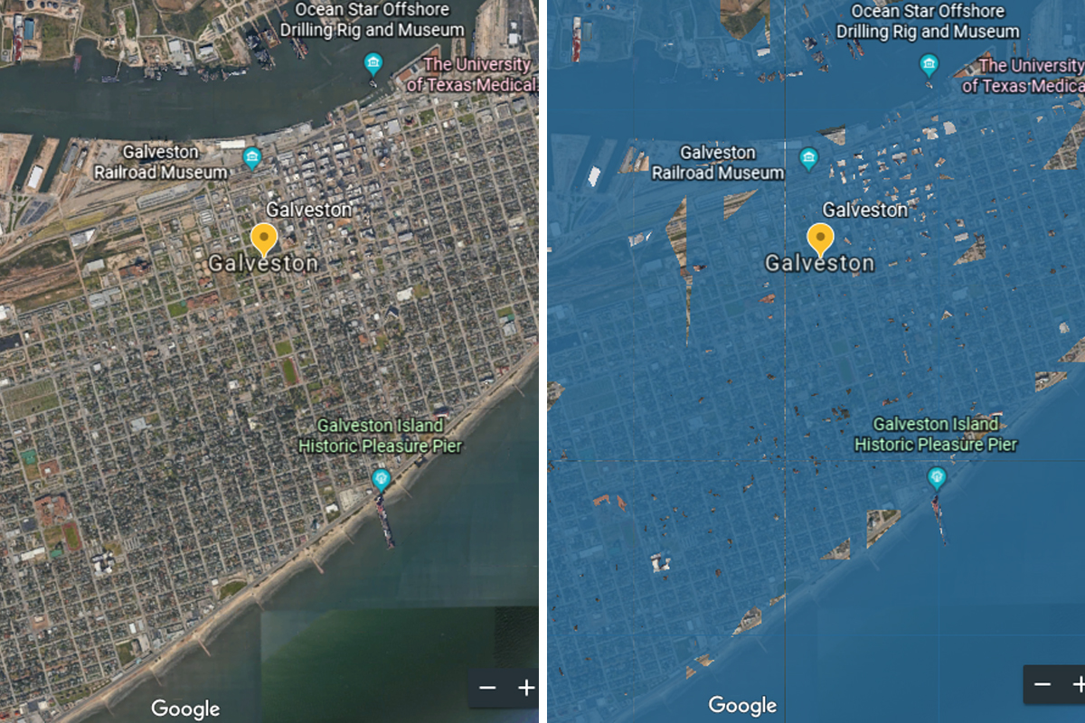 Galveston Seawall, other cities will be under water by 2100, according to sea level simulator