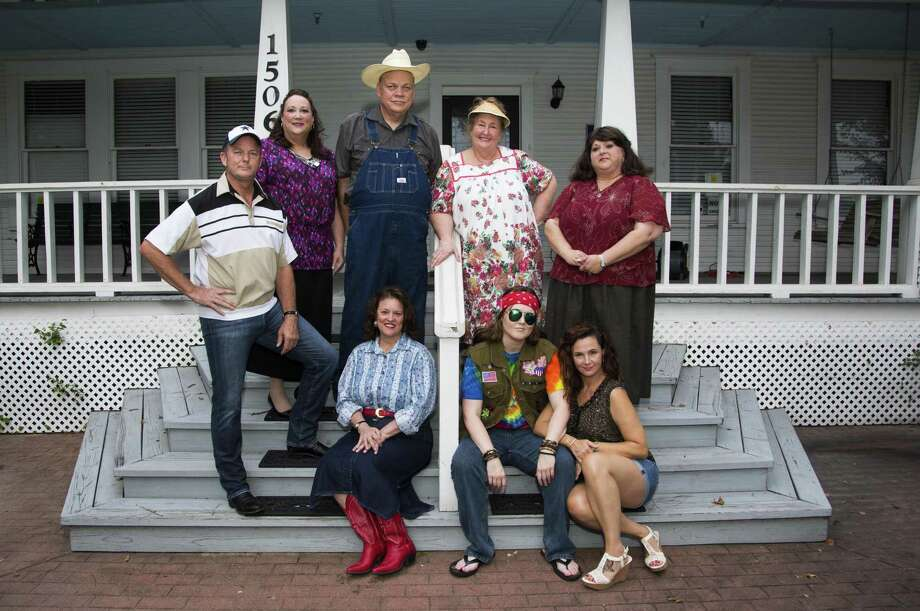 "The cast of The Players Theatre Company's ""Daddy's Dyin'"" Who's Got the Will"" are pictured at the Heritage Museum of Montgomery County. The show opens on July 5 at the Owen Theatre. Pictured are, bottom row, from left Renee' Cannon Poe as Sara Lee Turnover; Megan Nix as Harmony Rhodes and Angela Bowman as Avalita Turnover; Top row, from left are Gale Tynefield as Orville Turnover; Tracie deRoulac as Marlene, Steve Murphree as Buford Turnover, Barbara Polnick as Mama Wheelis and Danielle Williams as Lurlene Turnover. Visit www.owentheatre.com for tickets. Photo: Photo By Brad Meyer"