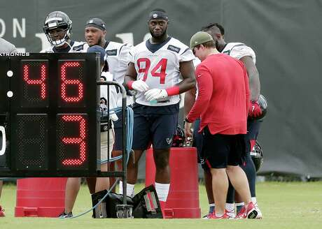 Houston Texans rookie defensive end Charles Omenihu (94) during a NFL football Organized Team Activity workout Tuesday, May 21, 2019, at the team practice facilities in Houston. (AP Photo/Michael Wyke)