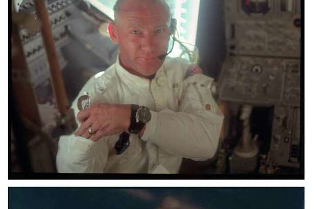"""Apollo 11 astronauts, from top, Edwin """"Buzz"""" Aldrin, Michael Collins and Neil Armstrong seen during the Apollo 11 mission."""