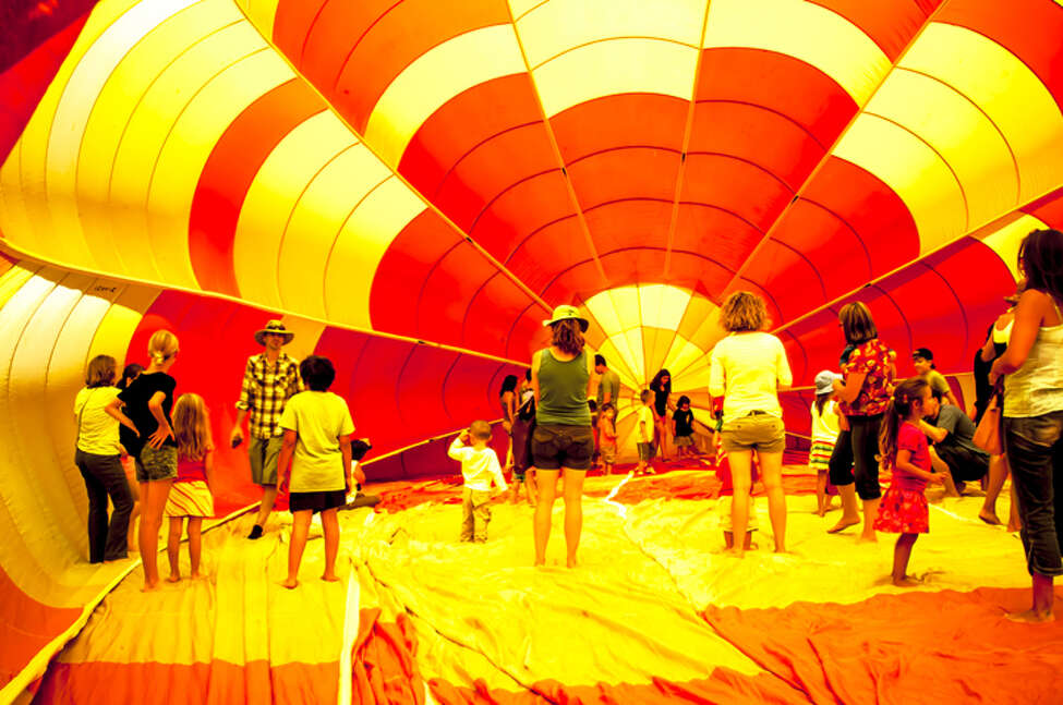 Visitors to the festival can go inside a semi-inflated balloon. (Publicity photo courtesy Saratoga Balloon & BBQ Festival.)
