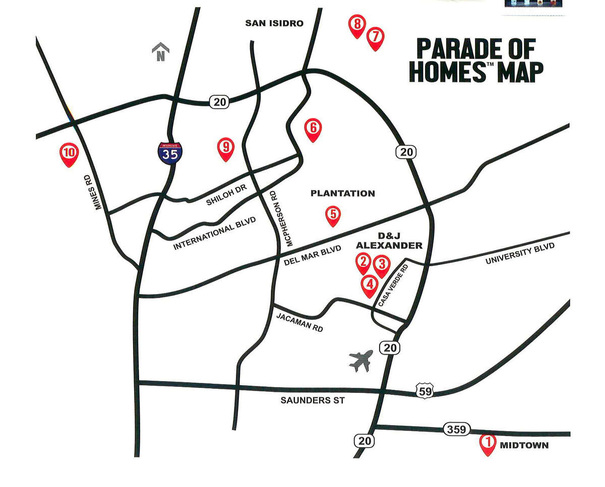 A map of the houses on the 2019 Parade of Homes is shown.
