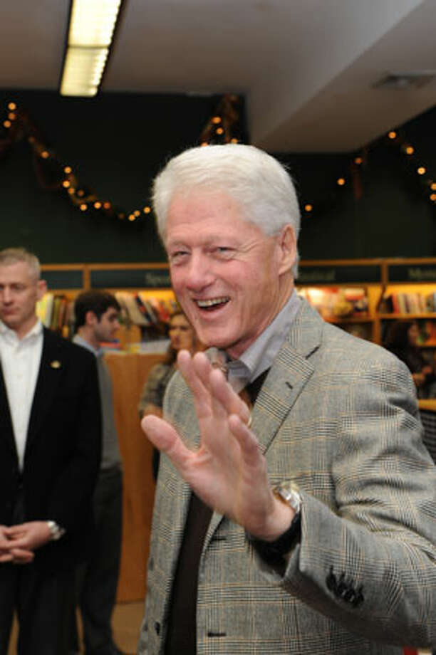 "Bill Clinton gave away and signed 500 copies of his new book, ""Back to Work,"" at Barrett Bookstore in Darien on Friday. (Darien Times/Laureen Vellante photo)"