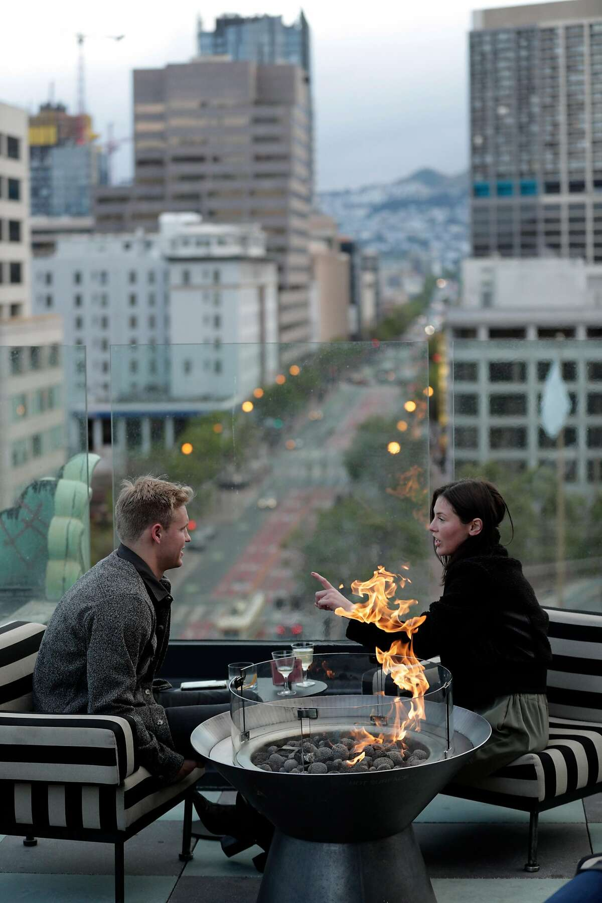 Drinks at Charmaine's in May, the rooftop bar and lounge overlooking Market Street at the Proper Hotel in San Francisco.