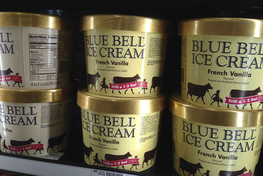 FILE - In this April 10, 2015, file photo, Blue Bell ice cream rests on a grocery store shelf in Lawrence, Kan. An arrest warrant has been issued for a man who authorities say posted social media video of himself licking ice cream from a carton in Texas and returning it to a supermarket freezer. Photo: Orlin Wagner, Associated Press