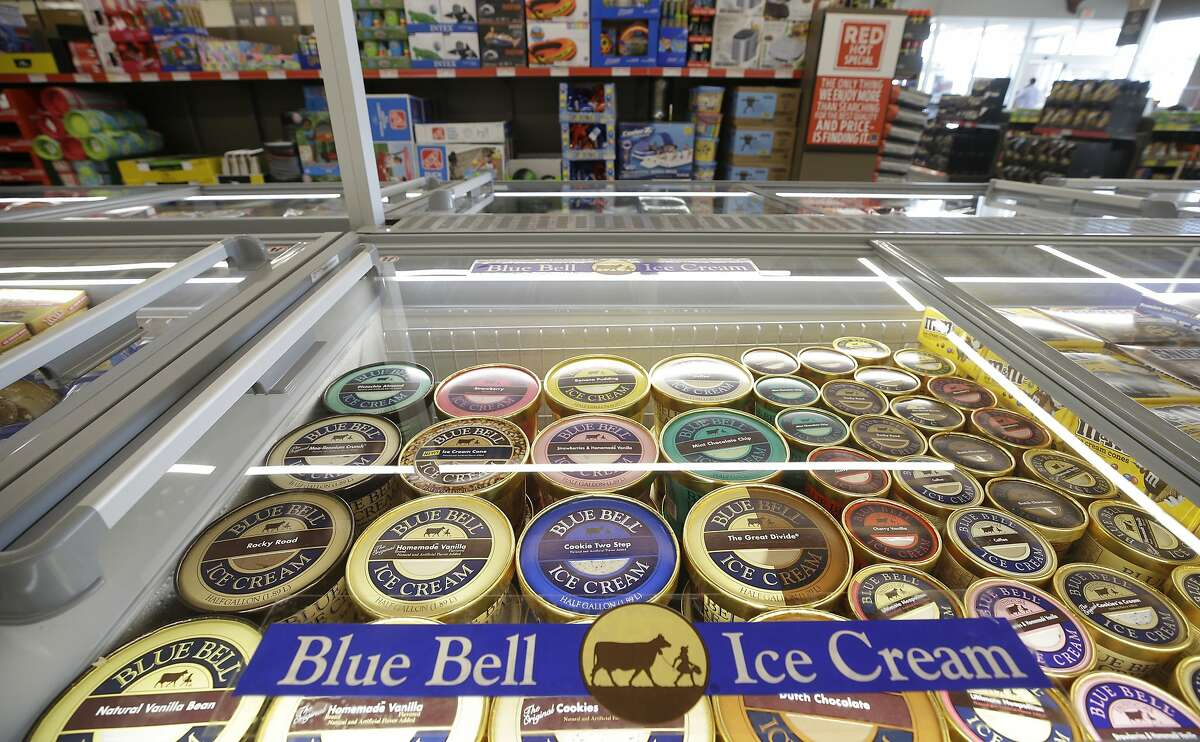 This July 5, 2017, photo shows a display of Blue Bell ice cream at a grocery store in Fulshear, Texas.