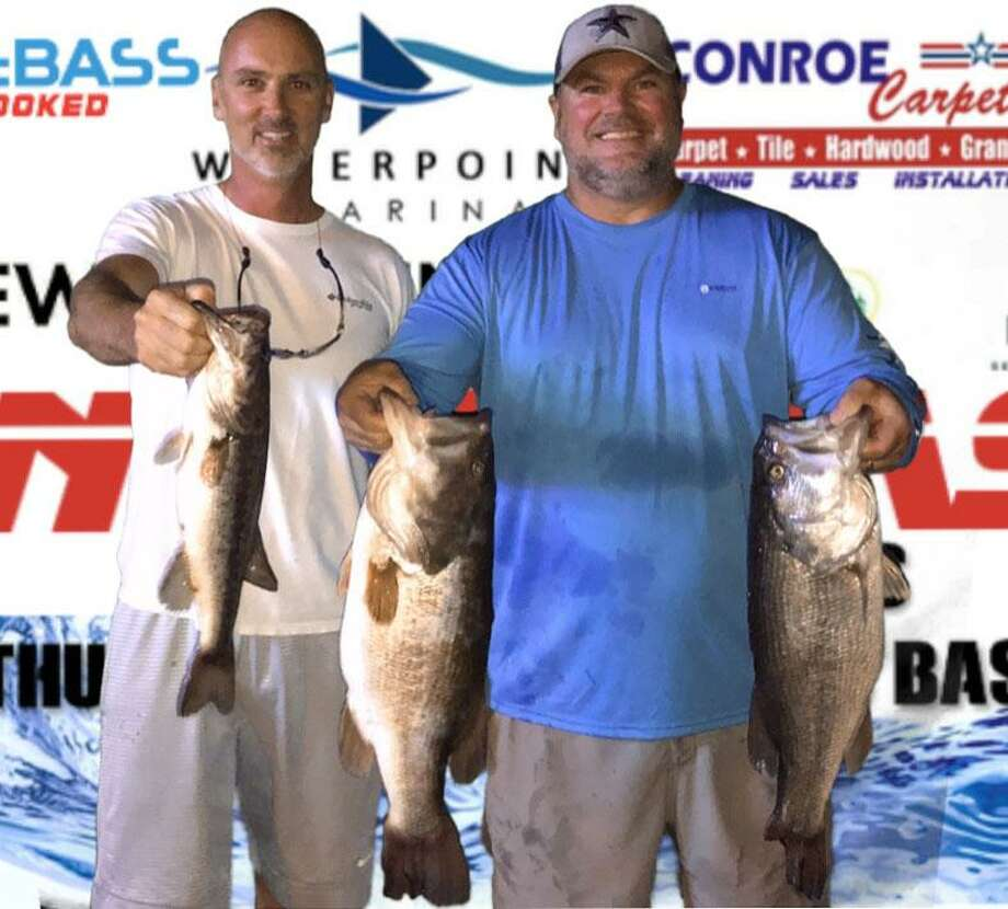 Neil Beebee and Joe Daw came in first place in the CONROEBASS Tuesday Tournament with a stringer weight of 18.71 pounds. Photo: Conroe Bass