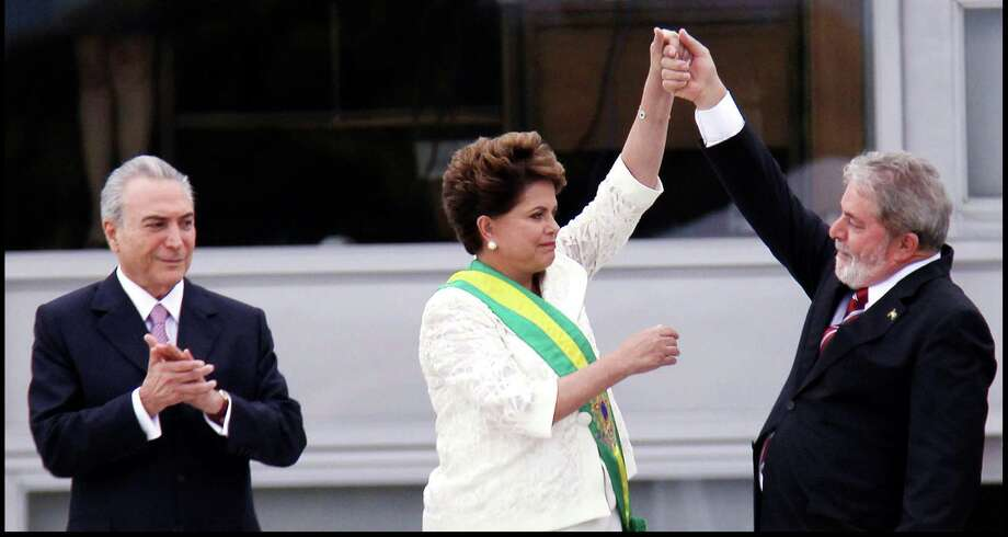 "Three former presidents of Brazil, from left Michel Temer (2016-18), Dilma Rousseff (2011-16) and Luiz Inacio Lula da Silva (2003-10) from the documentary ""The Edge of Democracy."" (Orlando Brito / Netflix/TNS)) Photo: Orlando Brito, HO / TNS / Netflix"